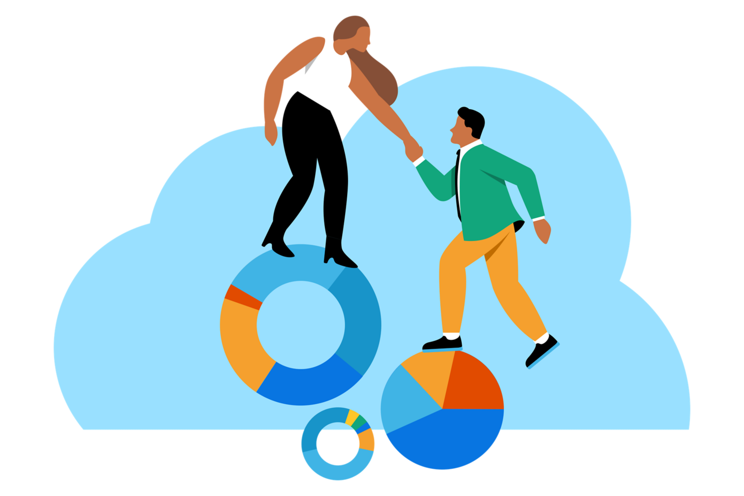 Two people climbing pie charts.