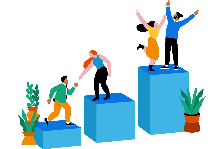 Personas que se ayudan para alcanzar la cima.