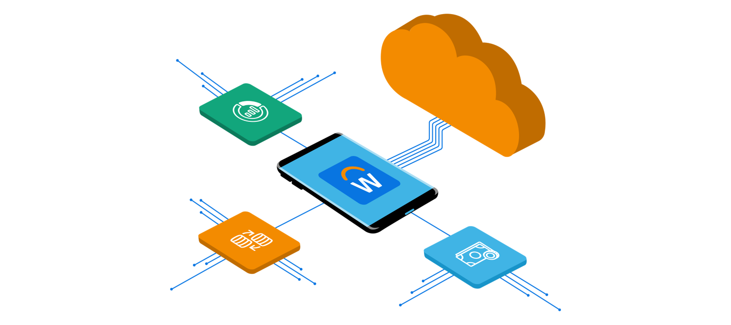 Workday platform integrated and extended with other applications.
