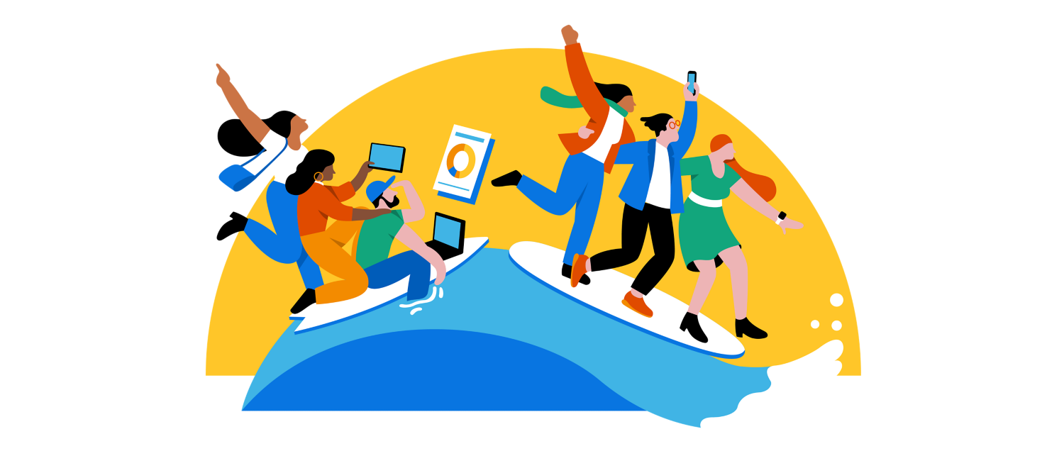 Six people on a wave looking at devices.