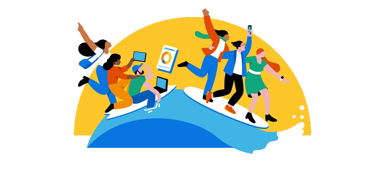 Seis personas mirando sus dispositivos sobre una ola.