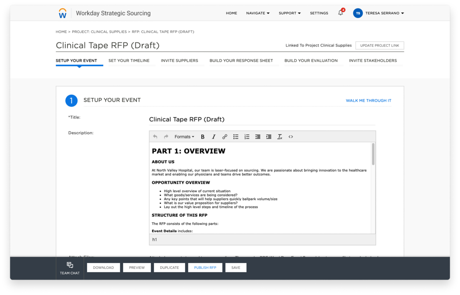 Workday Strategic Sourcing clinical supplies example RFP for the healthcare industry.