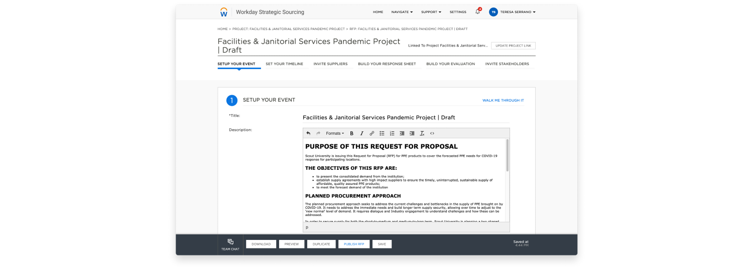 Workday Strategic Sourcing facilities and janitorial services pandemic project example RFP for the higher education industry.