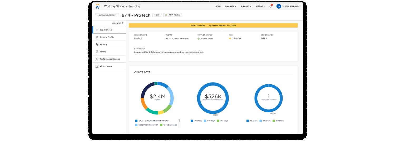 Workday Strategic Sourcing dashboard, supplier detail.