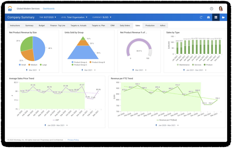 Dashboard 'Verkoop' met grafieken voor omzet, verkoop per type, gemiddelde verkoop en omzet per FTE