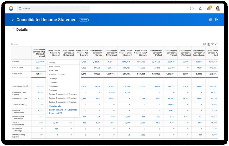 グローバルな財務管理の連結損益計算書。