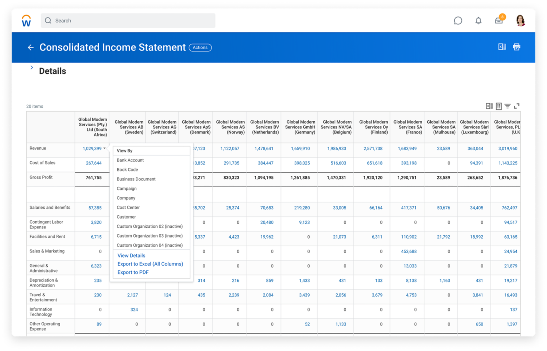 連結処理および決算ソフトウェアの連結損益計算書。