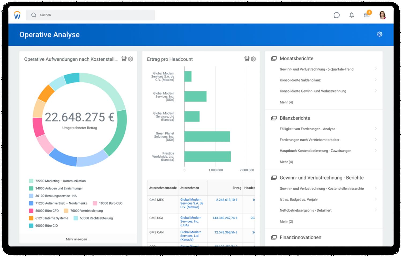 Finanzmanagement-Dashboard für operative Analysen mit operativen Aufwendungen nach Kostenstelle und GuV nach Quartal