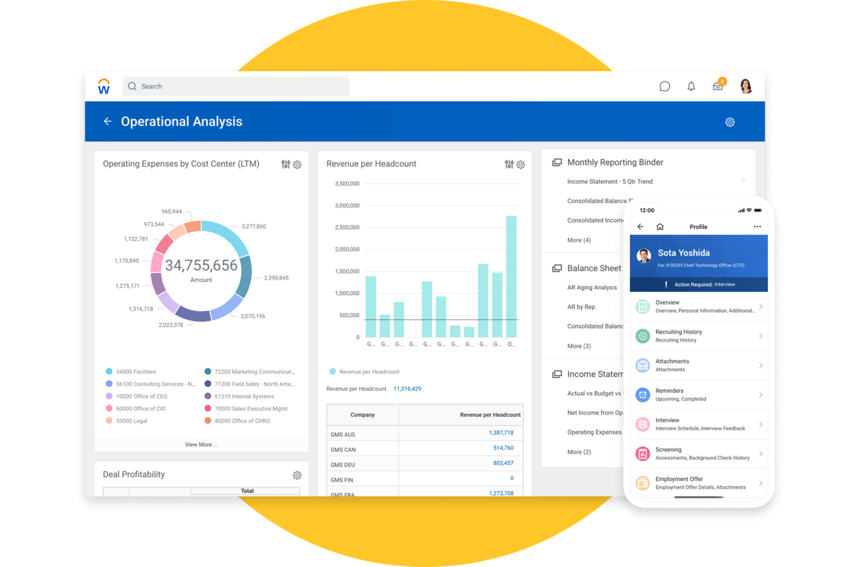 Desktop screenshot of financial management reporting and mobile screenshot of recruiting.