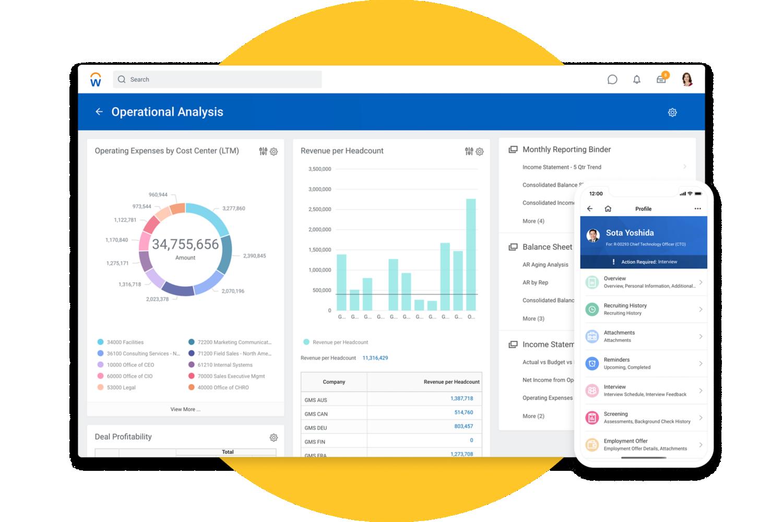 Schermafbeelding van een desktop met financiële managementrapportage en schermafbeelding van een mobiel met Workday-recruitmentsoftware