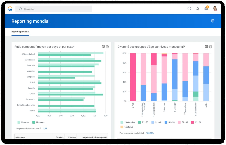 Tableau de bord de reporting international avec des histogrammes représentant le ratio comparatif moyen par coursier et sexe et la diversité des groupes d'âge par niveau de management.