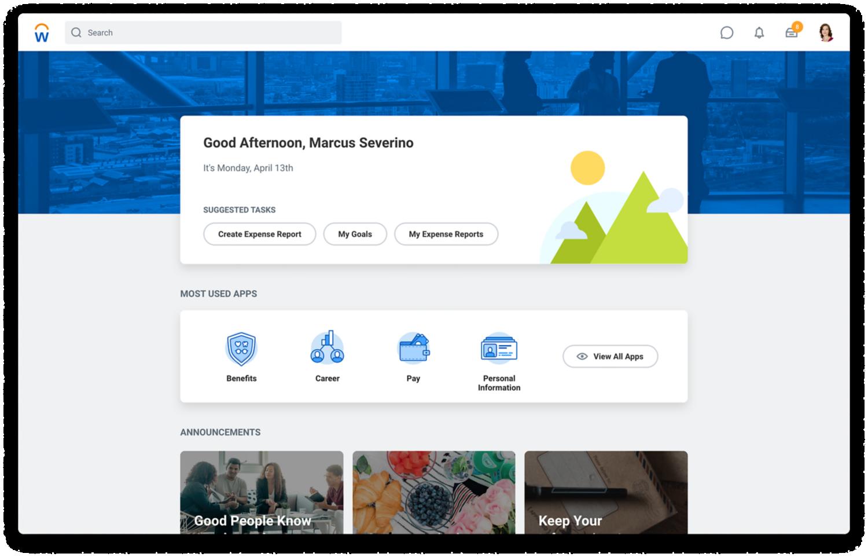 Human Capital Management-startscherm met aanbevolen taken, meestgebruikte apps en mededelingen.