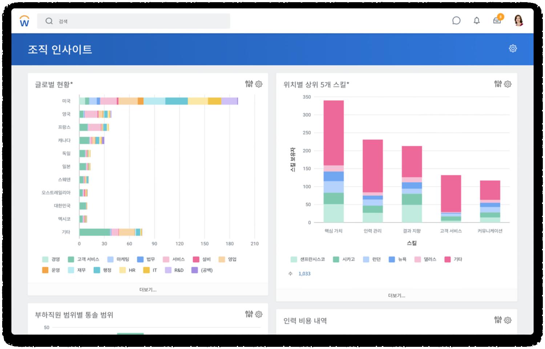 매니지먼트레벨별 다양성 및 연령 그룹, 운송직원 및 성별에 따른 평균 비교비율(CR)을 막대그래프로 보여주는 글로벌 리포트 대시보드
