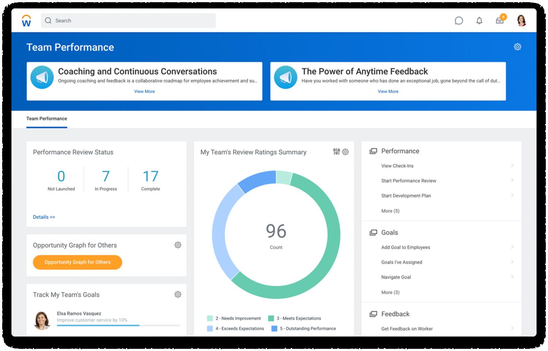 'Team Performance' dashboard met de status van de performance review en een samenvatting van de teamscores.