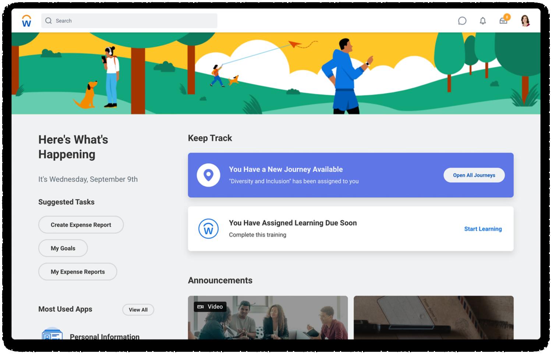 Home-Seite von Human Capital Management mit vorgeschlagenen Aufgaben, meistgenutzten Apps und Mitteilungen