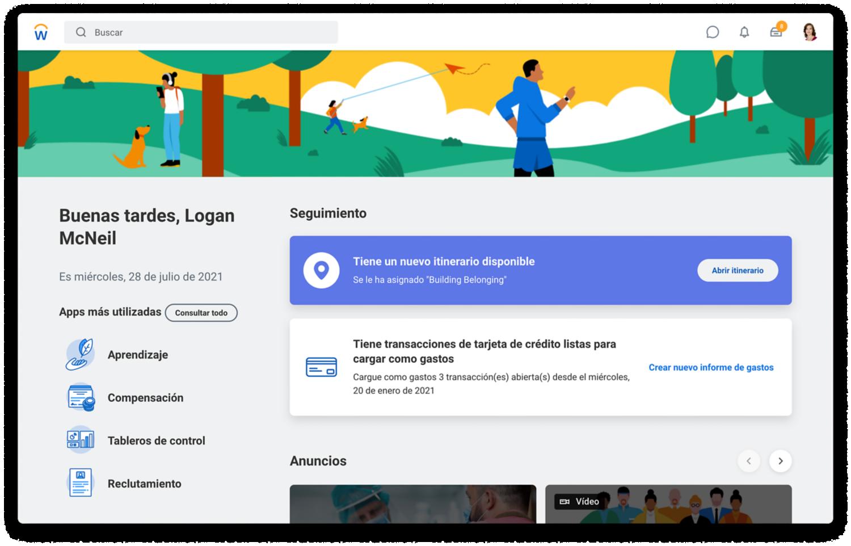 Página de inicio de People Experience que muestra tareas sugeridas, itinerarios y aplicaciones más utilizadas.