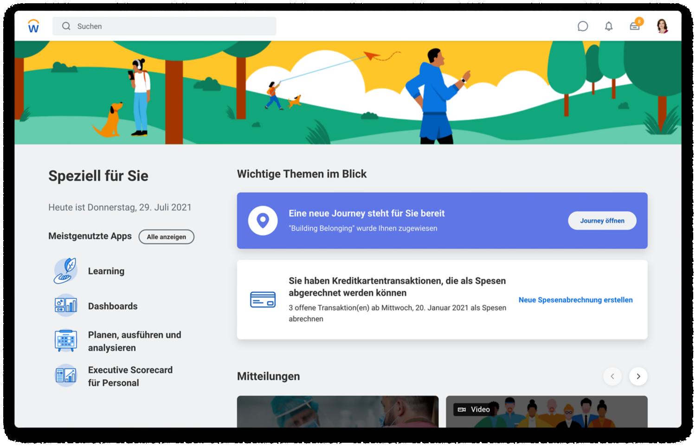 People Experience-Home-Seite mit vorgeschlagenen Aufgaben, Journeys und meistgenutzten Apps