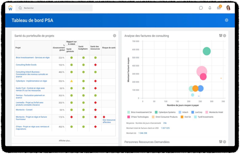Capture d'écran du tableau de bord des services de consulting présentant la situation du portefeuille de projet et un graphique en nuage de points d'analyse de factures.