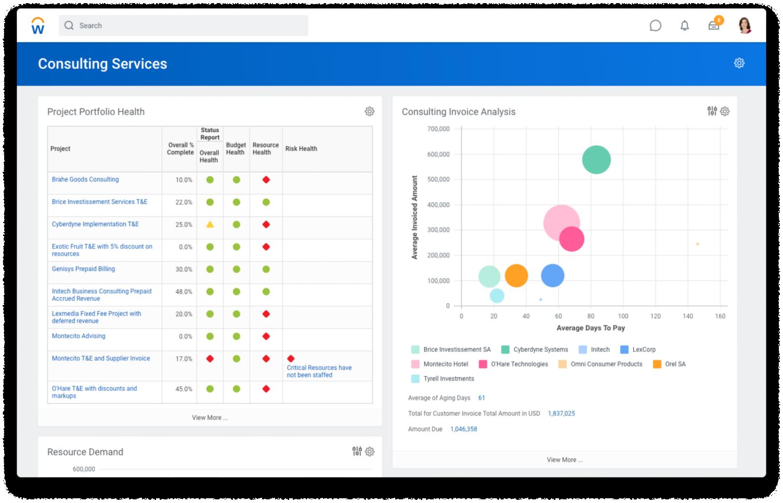 Screenshot van dashboard 'Consultingservices' met status van projectportfolio en een diagram voor de analyse van facturen.