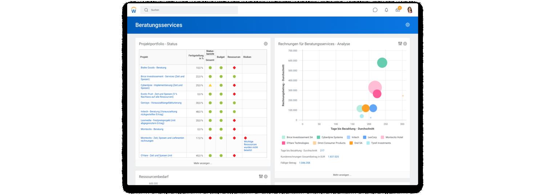 Screenshot des Beratungsservices-Dashboards mit dem Status des Projektportfolios und einem Streudiagramm zu einer Rechnungsanalyse für Beratungsservices