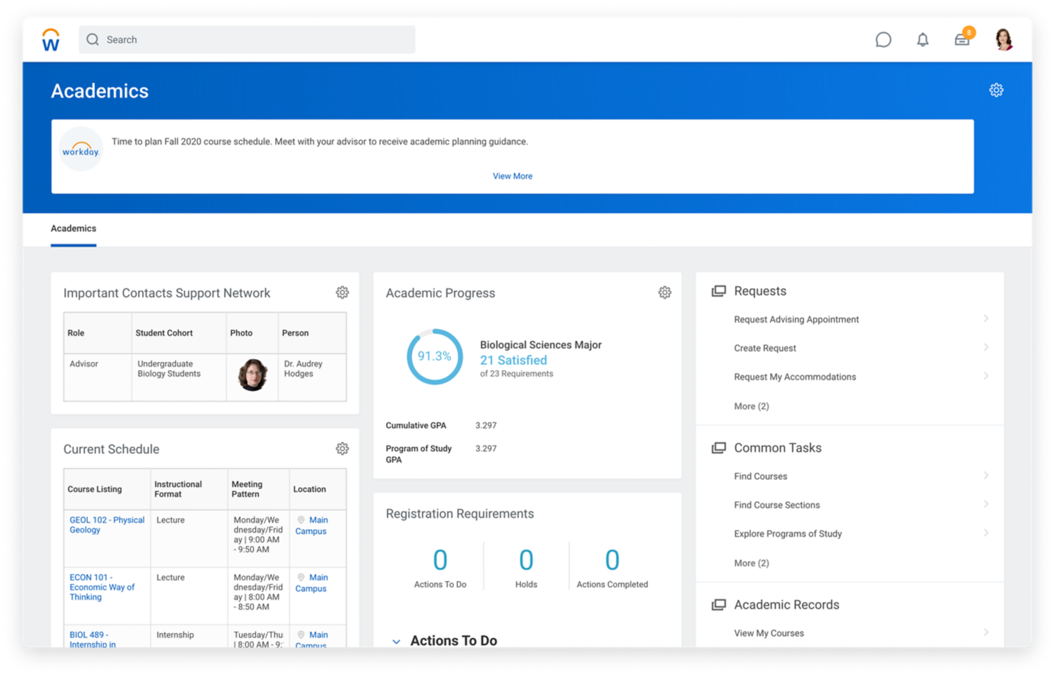 Academics dashboard showing support network contacts, schedule, progress, and registration requirements.