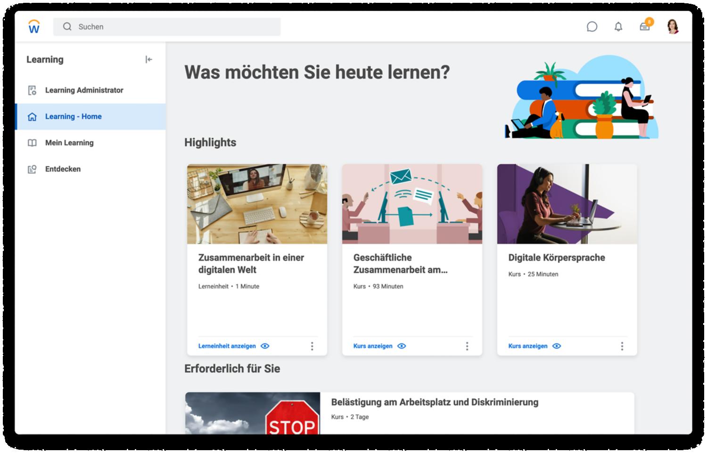 Learning-Dashboard mit erforderlichen und empfohlenen Videos sowie Videos passend zu den Interessen des Anwenders