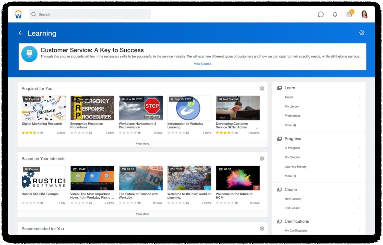 'Learning Dashboard' met verplichte en aanbevolen video's en video's op basis van interesses.