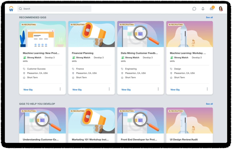Dashboard für Insights zu Kenntnissen mit Diagrammen für folgende Kategorien: Top-Kenntnisse in Organisation, FünfTop-Kenntnisse nach Standort und Fehlende Kenntnisse basierend auf offenen Personalanforderungen