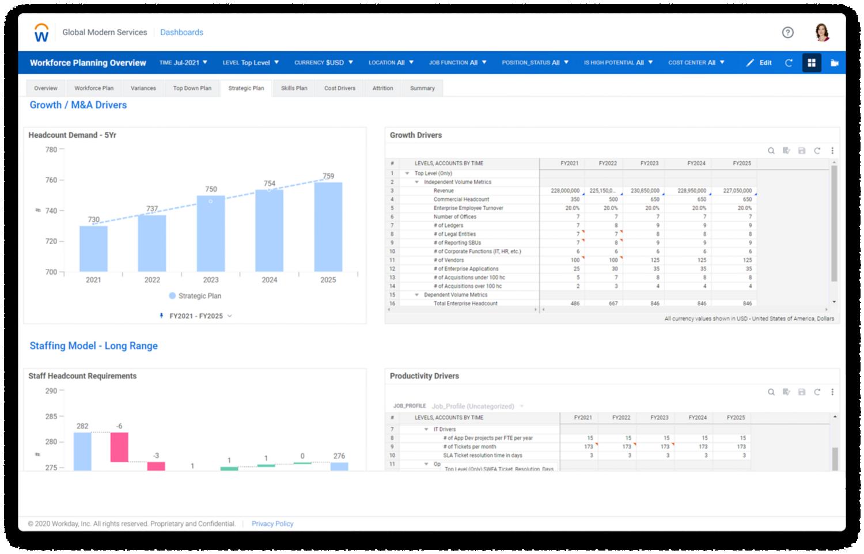 Strategic workforce planning dashboard in Workday Adaptive Planning software.
